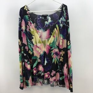 Lane Bryant Womens Long Sleeve Floral Top Size 26/